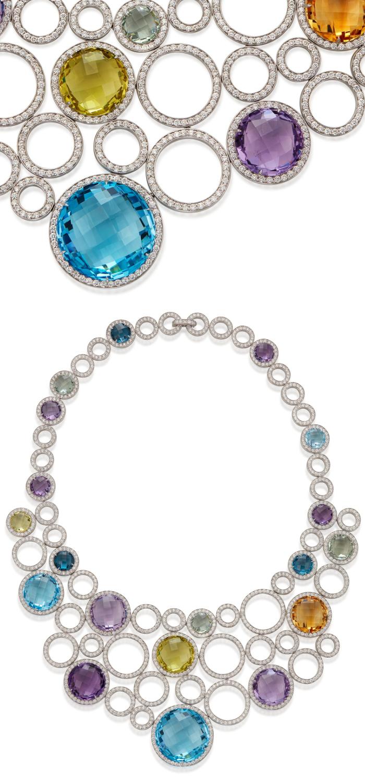 Michele della Valle necklace with blue topaz, amethyst, prasiolite, citrine and lemon quartz, round diamonds, in 18k white gold.