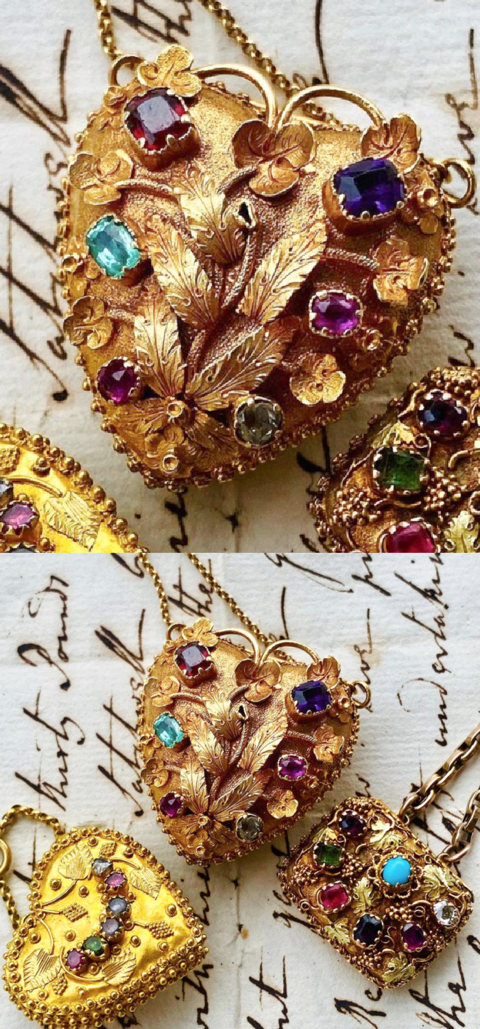 These three antique Georgian era lockets are from Fable & Windsor and they are all acrostic jewelry with gems that spell 'REGARD.'