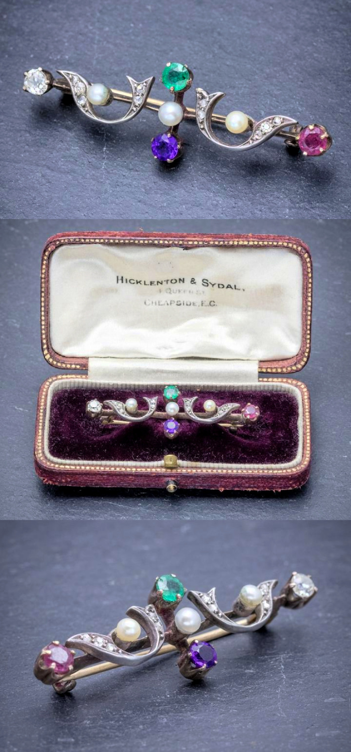 This early Victorian era brooch is an acrostic jewel! The colorful gems spell DEAR. From Laurelle Antique Jewellery.