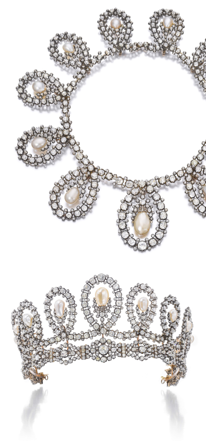 A historic royal tiara by Musy, made of natural pearls and diamonds. Converts into a necklace! Via Sotheby's.