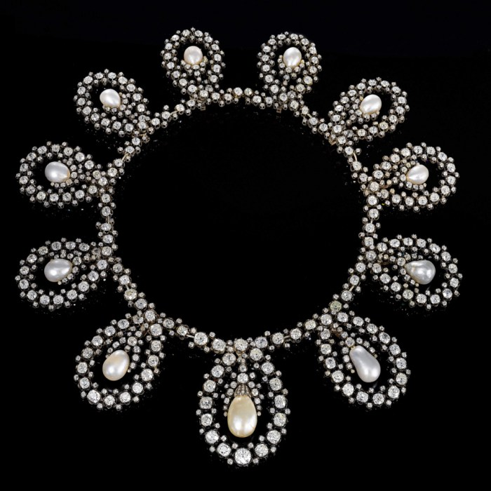 Necklace form of a royal tiara from the second half of the 19th century. Diamonds and natural pearls! By Musy, for sale at Sotheby's.