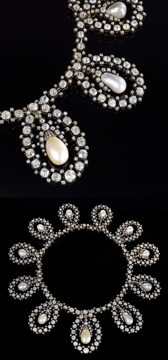 The necklace form of an antique royal tiara! Old cut diamonds and natural pearls. Via Sotheby's.