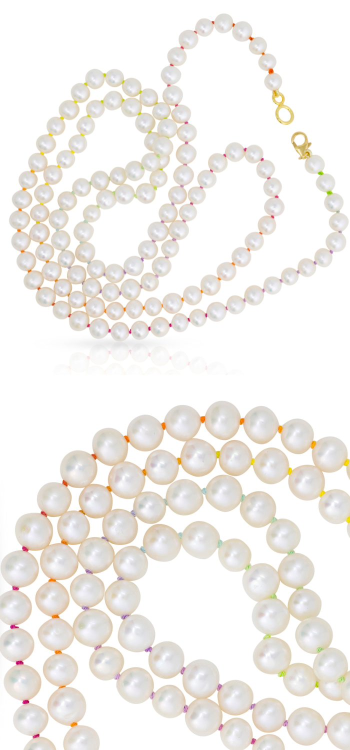 Mined + Found uses hand knotted rainbow silk to create beautiful rainbow pearl jewelry, like these freshwater pearl necklaces.