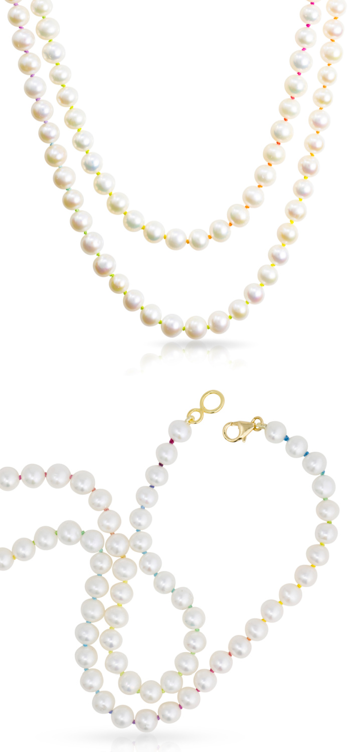 Mined + Found uses hand knotted rainbow silk to create beautiful rainbow pearl jewelry, like these necklaces.