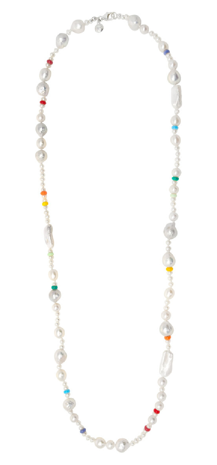 The long Coco pearl necklace by Fry Powers. I love these cheerful rainbow pearls!
