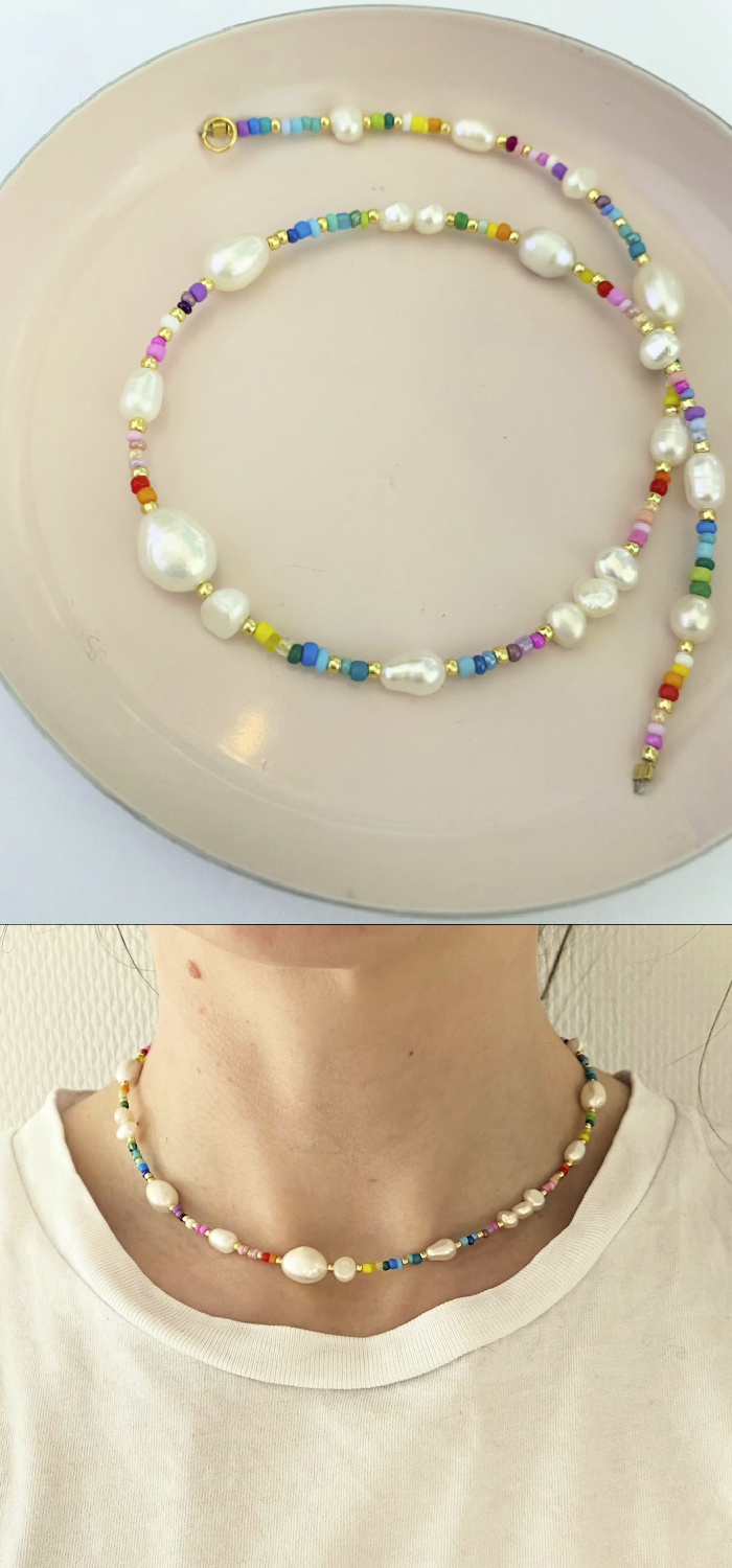 This cheerful rainbow bead and pearl necklace is from Pearls by Mimmi.