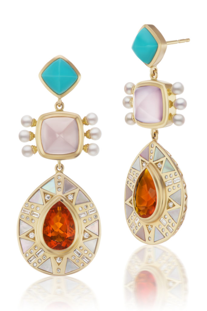Cleopatra's Vault earrings by Harwell Godfrey, with fire opal, turquoise, pearls, mother of pearl, and diamonds.