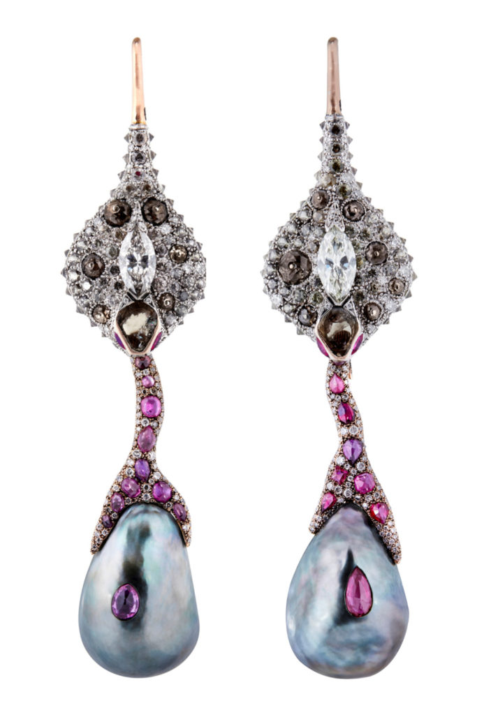 Drip snake earrings by Castro, with diamonds, color change garnet, ruby, and cultured pearls.