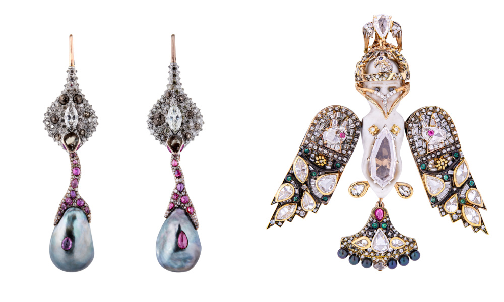 Earrings and pendant by Castro, from Sotheby's Brilliant & Black, an exhibition of work by Black jewelers