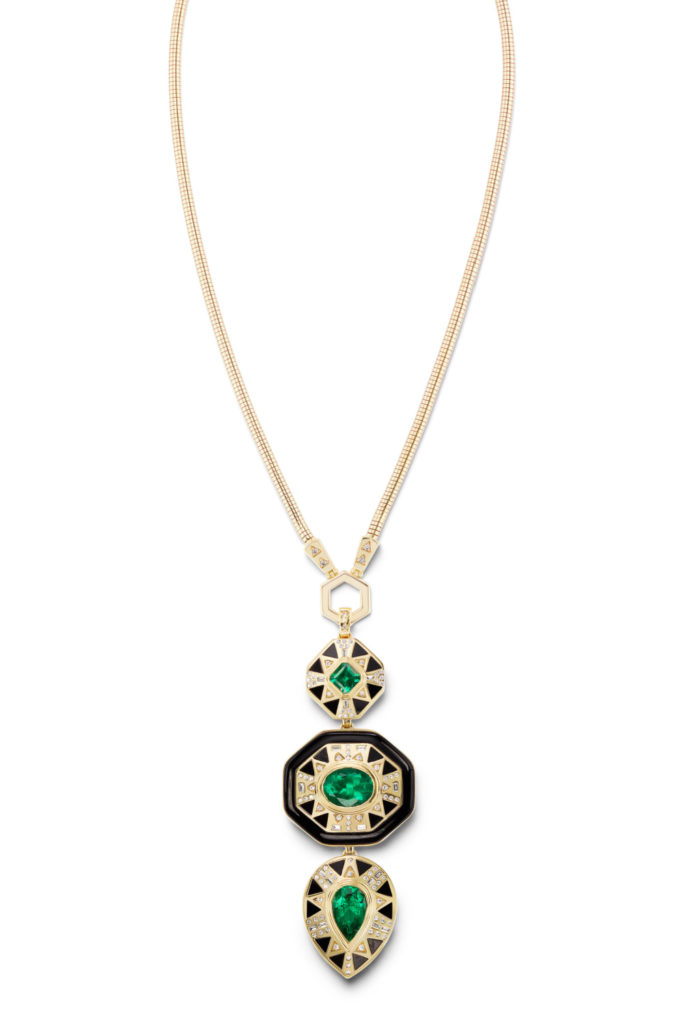 Muzo emerald totem necklace by Harwell Godfrey, in 18K uellow gold with emeralds and diamonds.