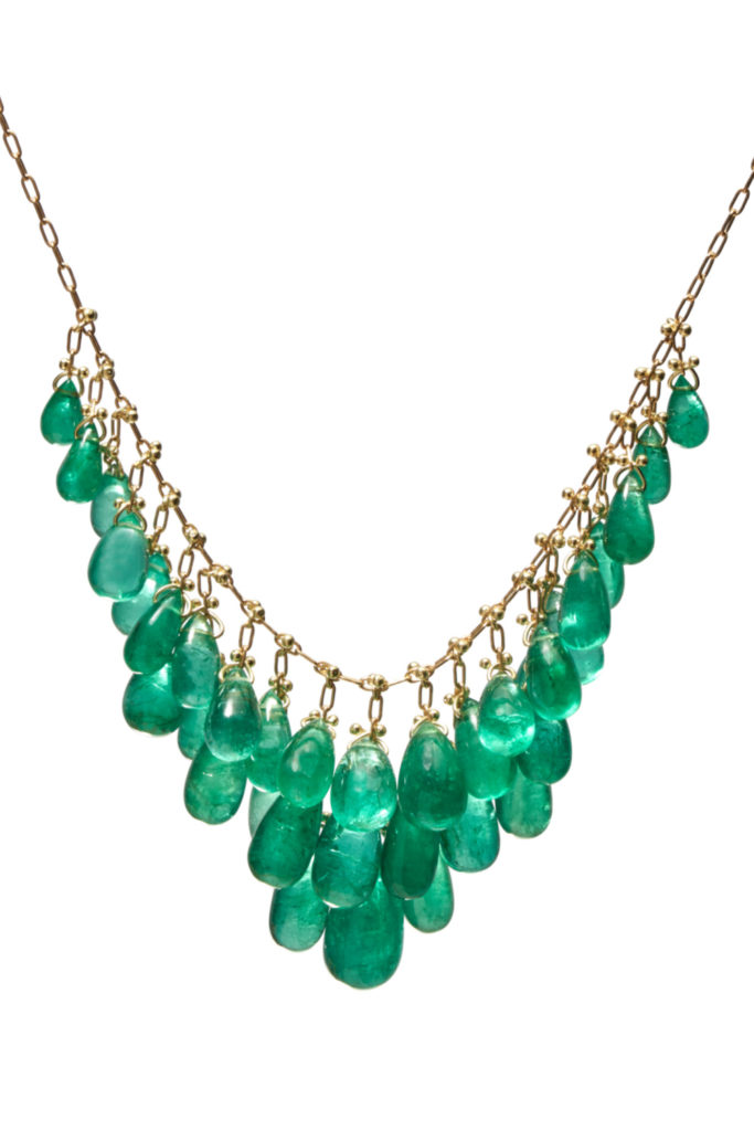 The emerald waterfall necklace by Tenthousandthings, with 36.84 carats of emeralds.