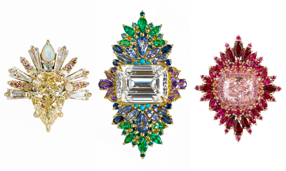 Three extraordinary rings by Maggi Simpkins for Sotheby's Brilliant & Black, an exhibition of work by Black jewelers