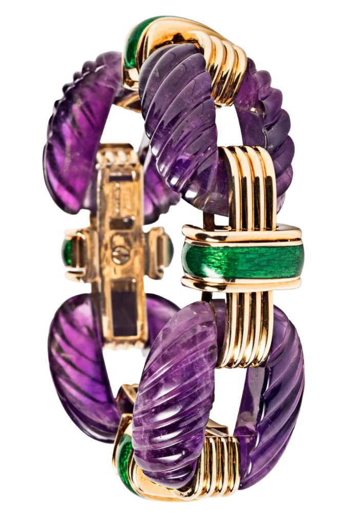 David Webb bracelet featuring amethyst with green enamel, gold, and diamonds. From Tiina Smith.