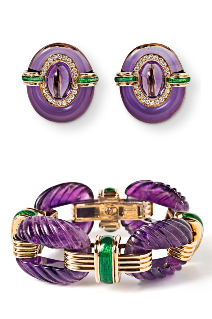 David Webb earrings and bracelet, both featuring amethyst with green enamel, gold, and diamonds. From Tiina Smith.