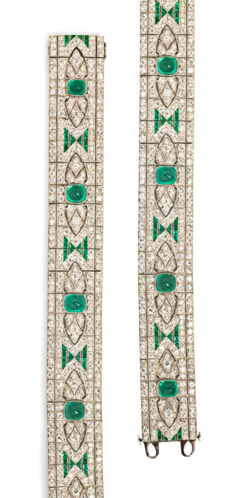 Detail of an Art Deco emerald and diamond bracelet from Tiina Smith