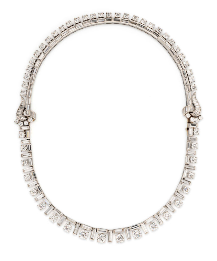 Exquisite platinum and diamond necklace by Marianne Ostier. Converts into two bracelets! From Tiina Smith.