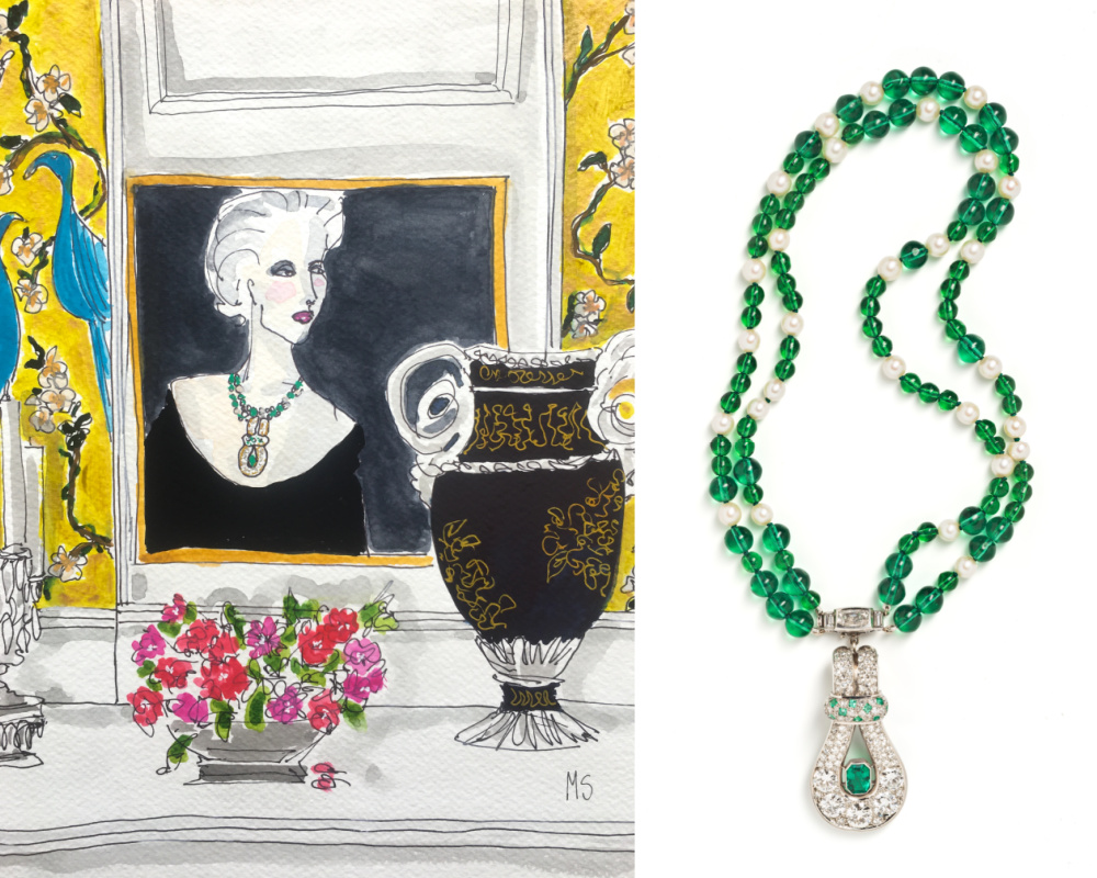Fashion Illustration by Manuel Santelices for Tiina Smith, featuring a Belperron emerald necklace from Tiina Smith.