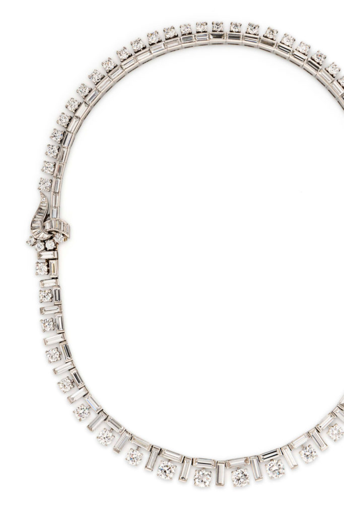 Marianne Ostier platinum and diamond ribbon necklace from Tiina Smith