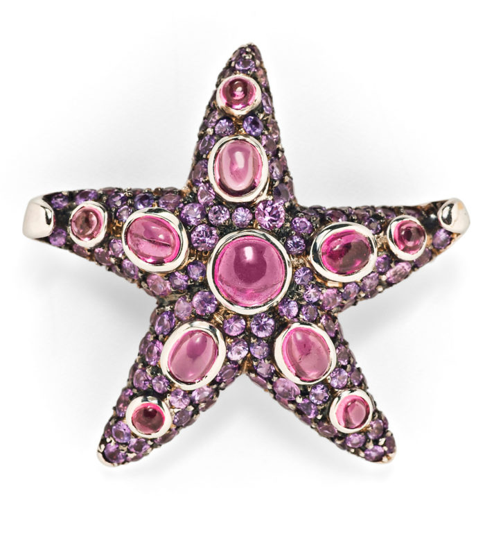 René Boivin starfish brooch from Tiina Smith! With sapphires and tourmaline.