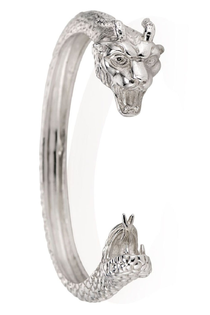 The Chimera cuff bracelet in silver from KIL NYC's Teras Collecton, which is inspired by monsters from Greek mythology.