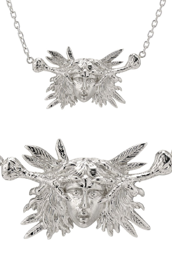 The Harpy necklace in silver from KIL NYC's Teras Collecton, which is inspired by monsters from Greek mythology.