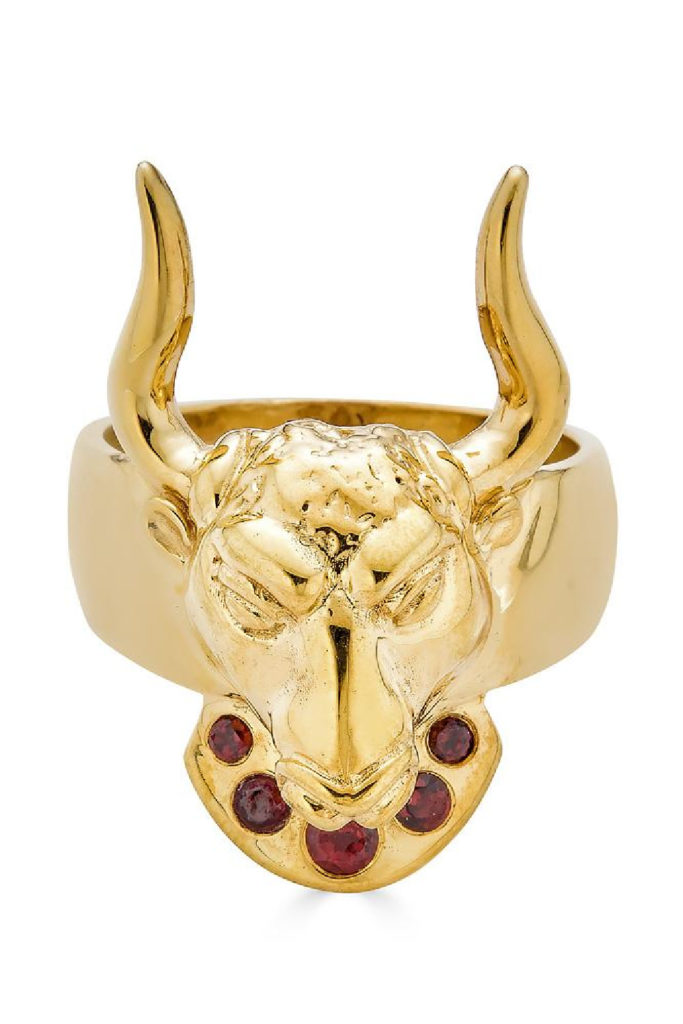 The Minos ring from KIL NYC's Teras Collection, inspired by the ancient Greek myth of the Minotaur. In gold with ruby eyes. Perfect for a Taurus.