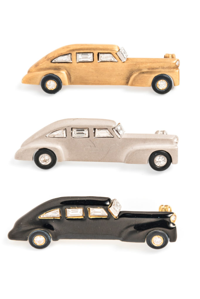 Three vintage classic car brooches with enamel and diamonds. From Tiina Smith.