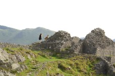 Exploring the castle ruins