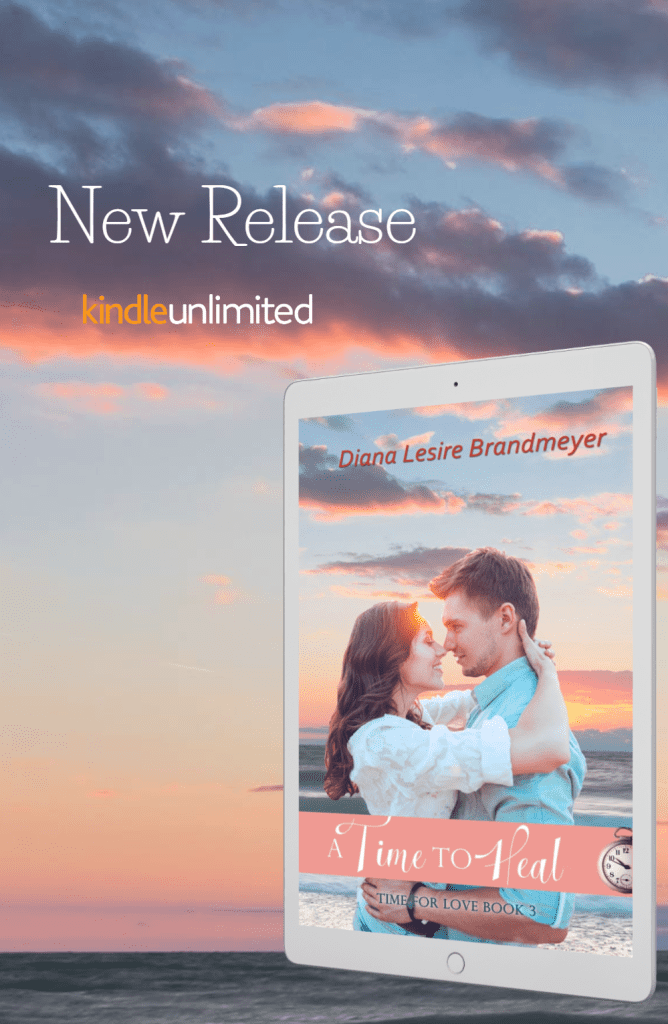 book cover for A Time to Heal, couple on a beach with sunset background