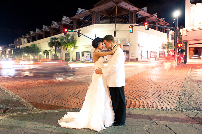 bride and groom at king and calhoun street in charleston sc