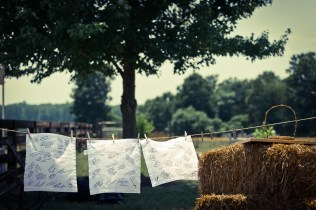 signed handkerchiefs from farm wedding