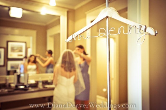 Custom Wedding Dress Hanger wedding photographer Diana Deaver Charleston SC-3
