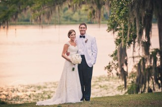 water bride and groom portrait at kinbles at wachesaw plantation