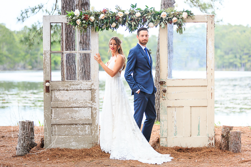 bride and groom wedding day portrait lake house at bulow charleston sc