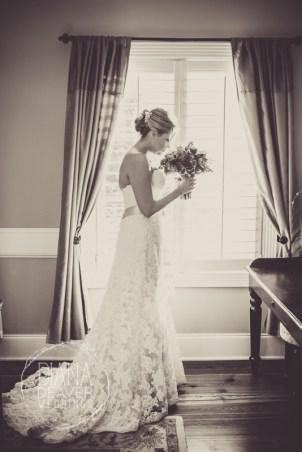 lace wedding dress Window Bridal Portrait at The Inn at I'ON
