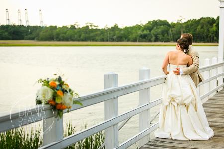 bride and groom wedding dock at the creek club at ion at dusk