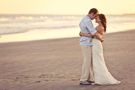 bride and groom at sunset kiawah
