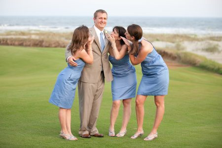 groom and bridesmaids kiawah island