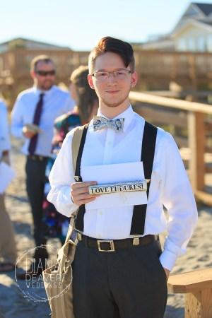 beach ushers canvas bags paper scroll wedding program