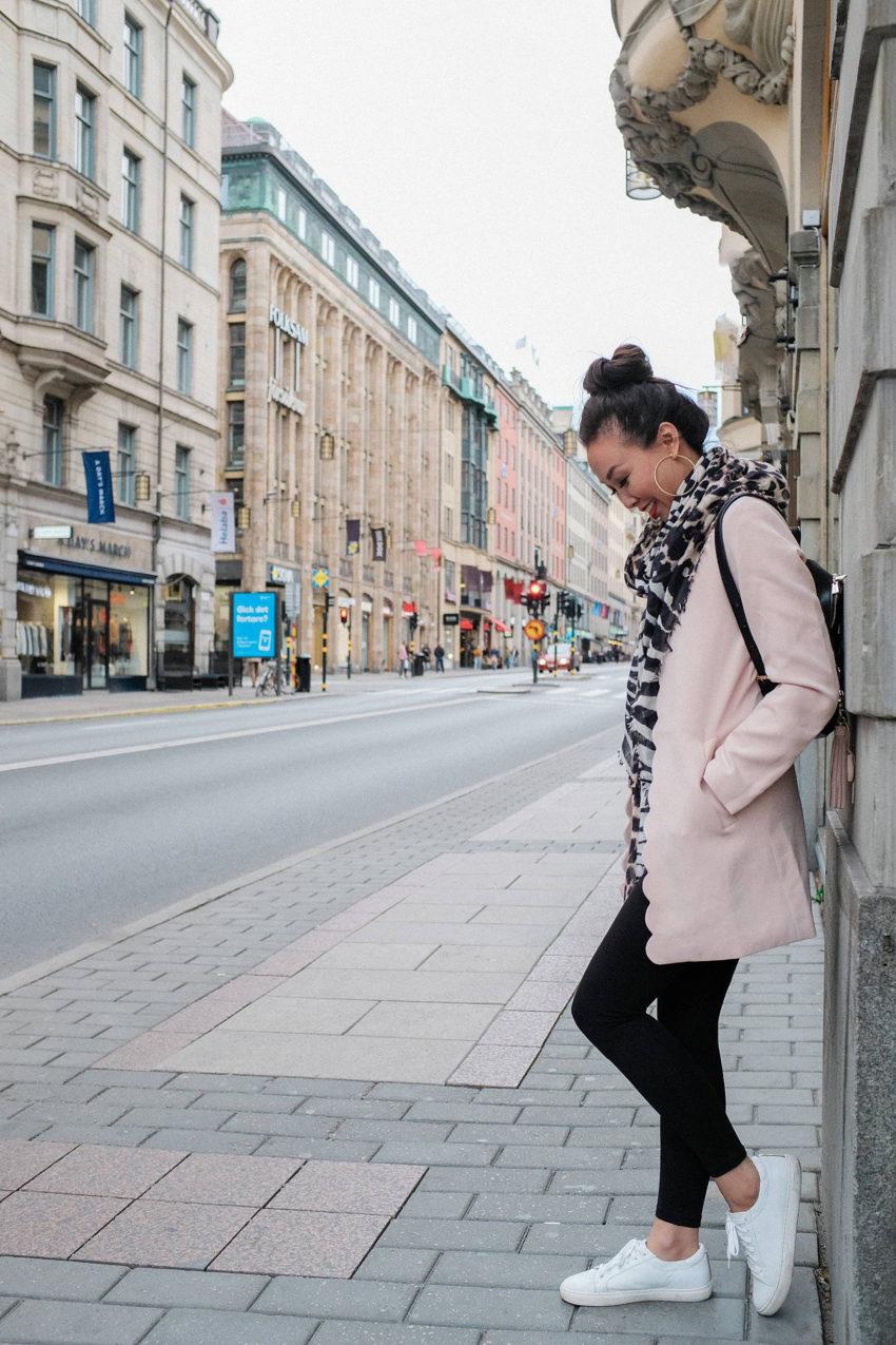 lifestyle travel blogger diana Elizabeth on streets of Stockholm Sweden