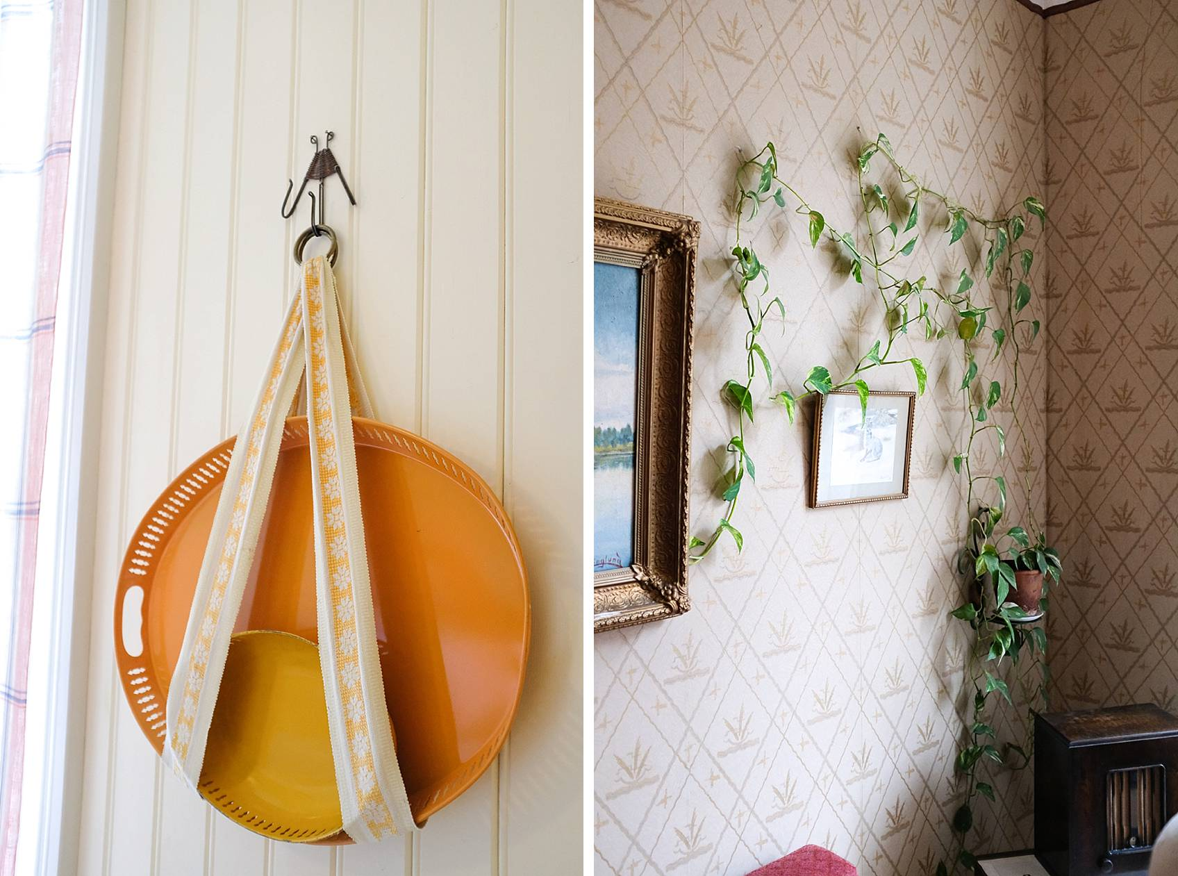 skansen stockholm cottage living decor for inspiration, inside home hanging serveware platter and vines on wall with hooks
