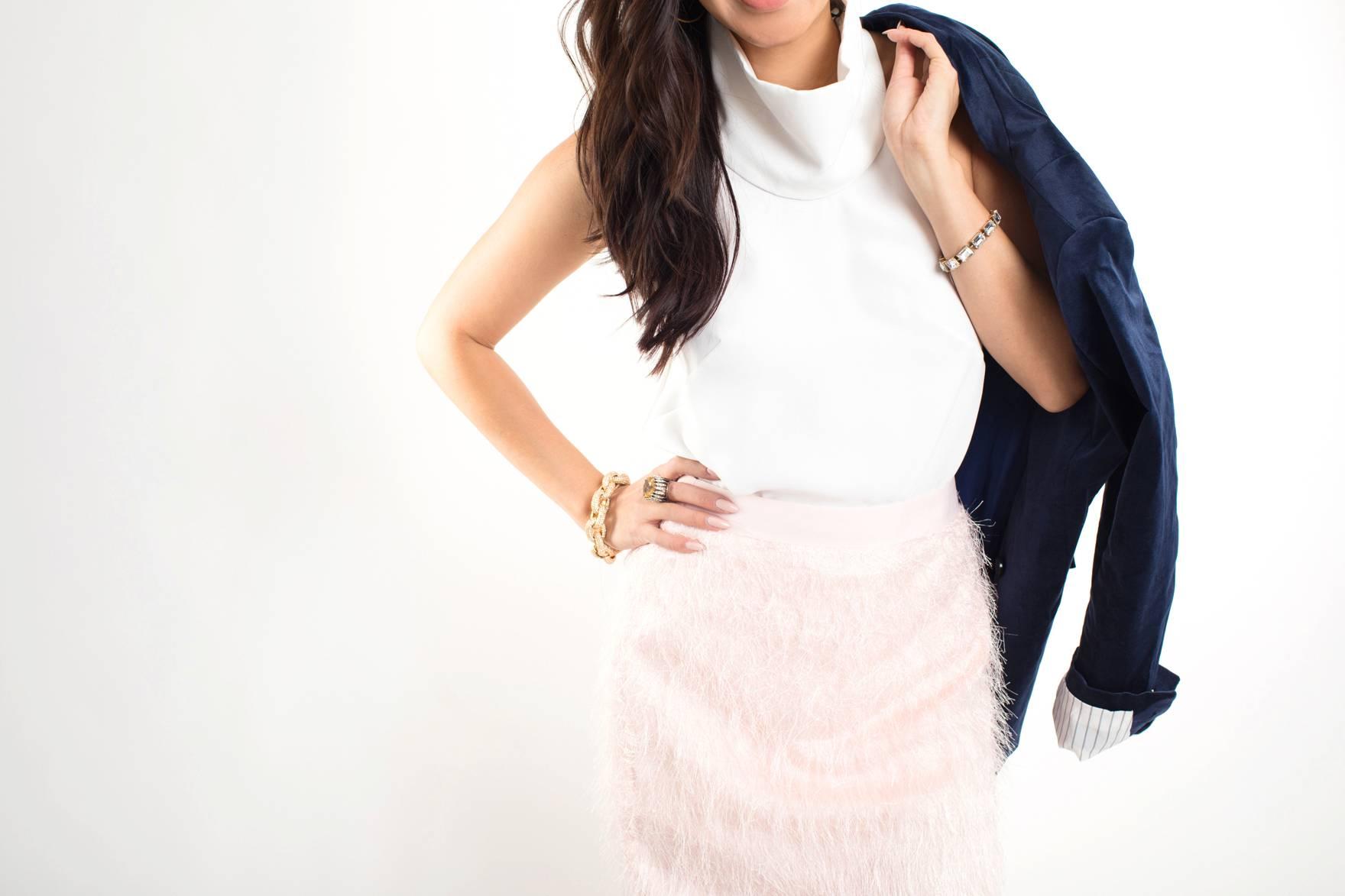 banana republic pink eyelash fringe skirt blue velvet blazer holiday outfit looks on Diana Elizabeth