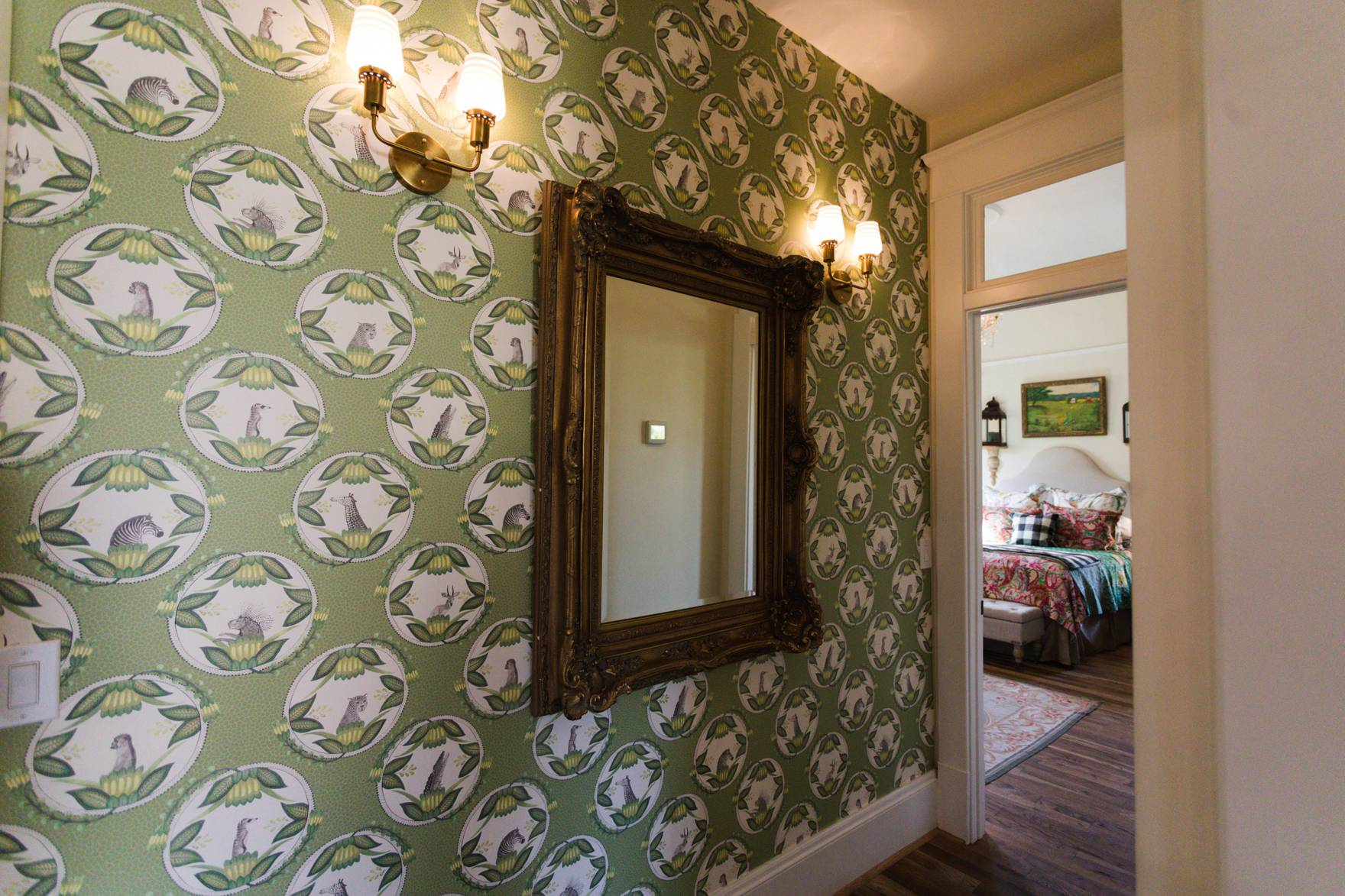 Home Tour of Boho Farm and Home in Downtown Phoenix - cottage brick style home from 1903 hallway wallpaper creature cameo wallpaper anthropologie