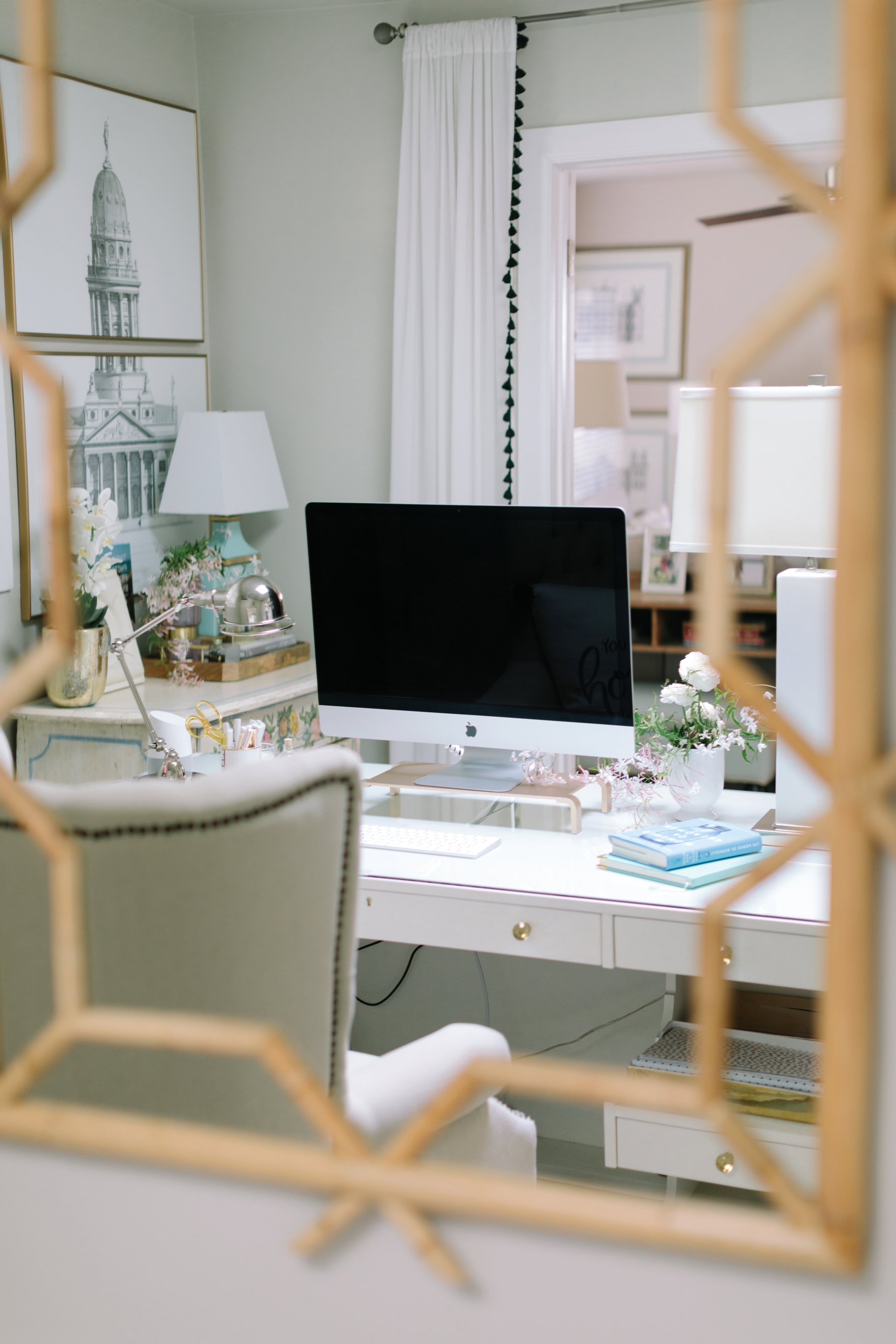 blogger photographer home office decor Diana Elizabeth's office featuring Coastal Living by Stanley Furniture Oasis Cape Dutch Writing Desk shelving and storage