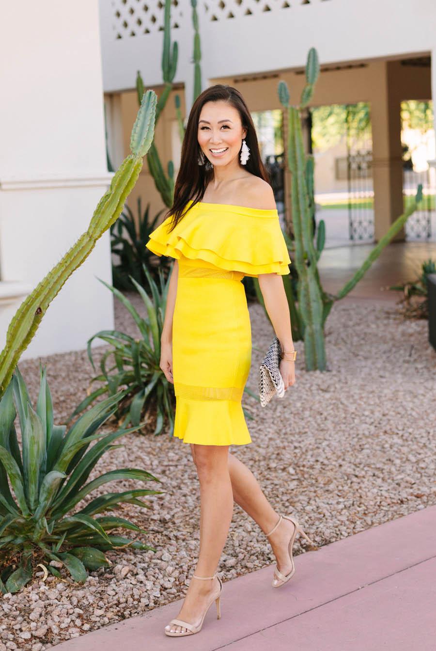 Diana Elizabeth phoenix lifestyle blogger fashion blog yellow off shoulder dress