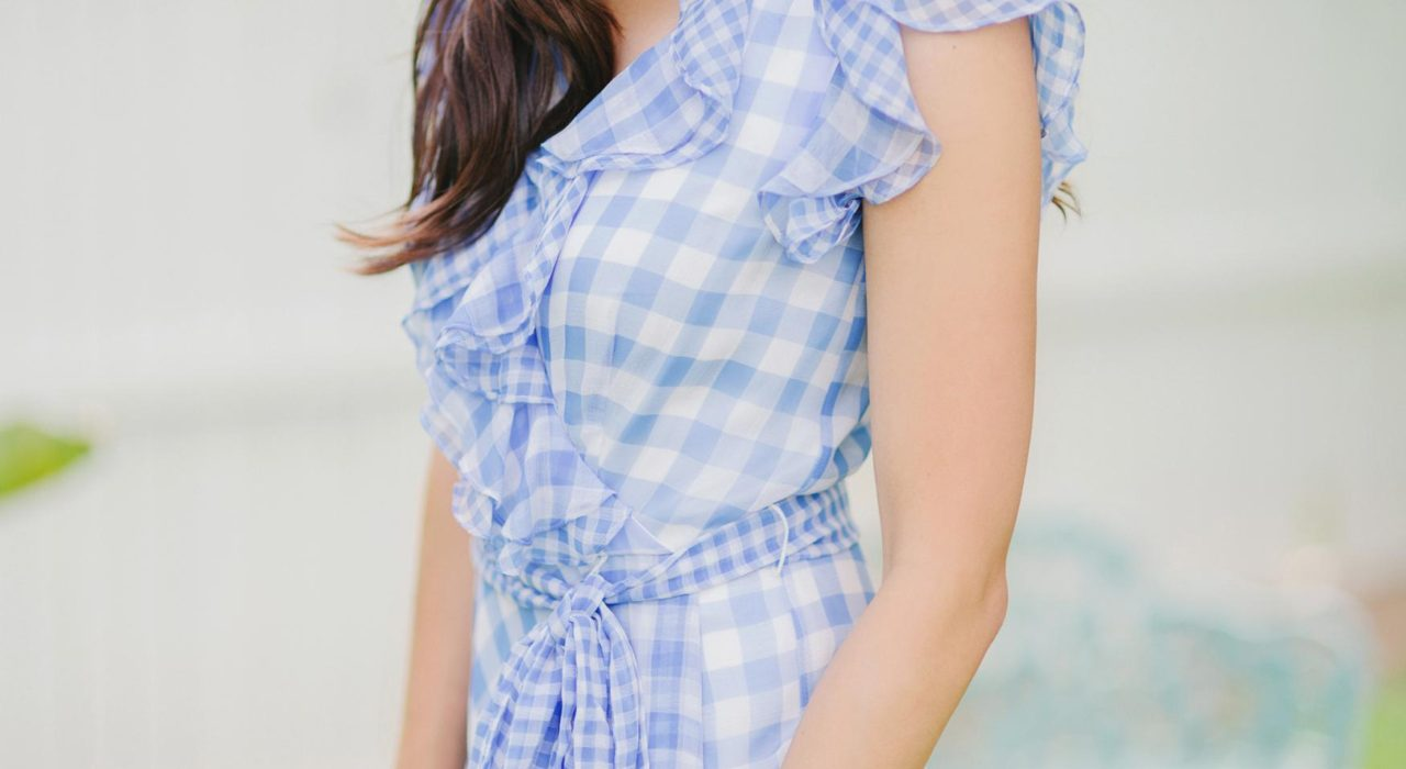 blue check ruffled gingham spring time dress by Tahari ASL // Phoenix Style Lifestyle Blogger Diana Elizabeth