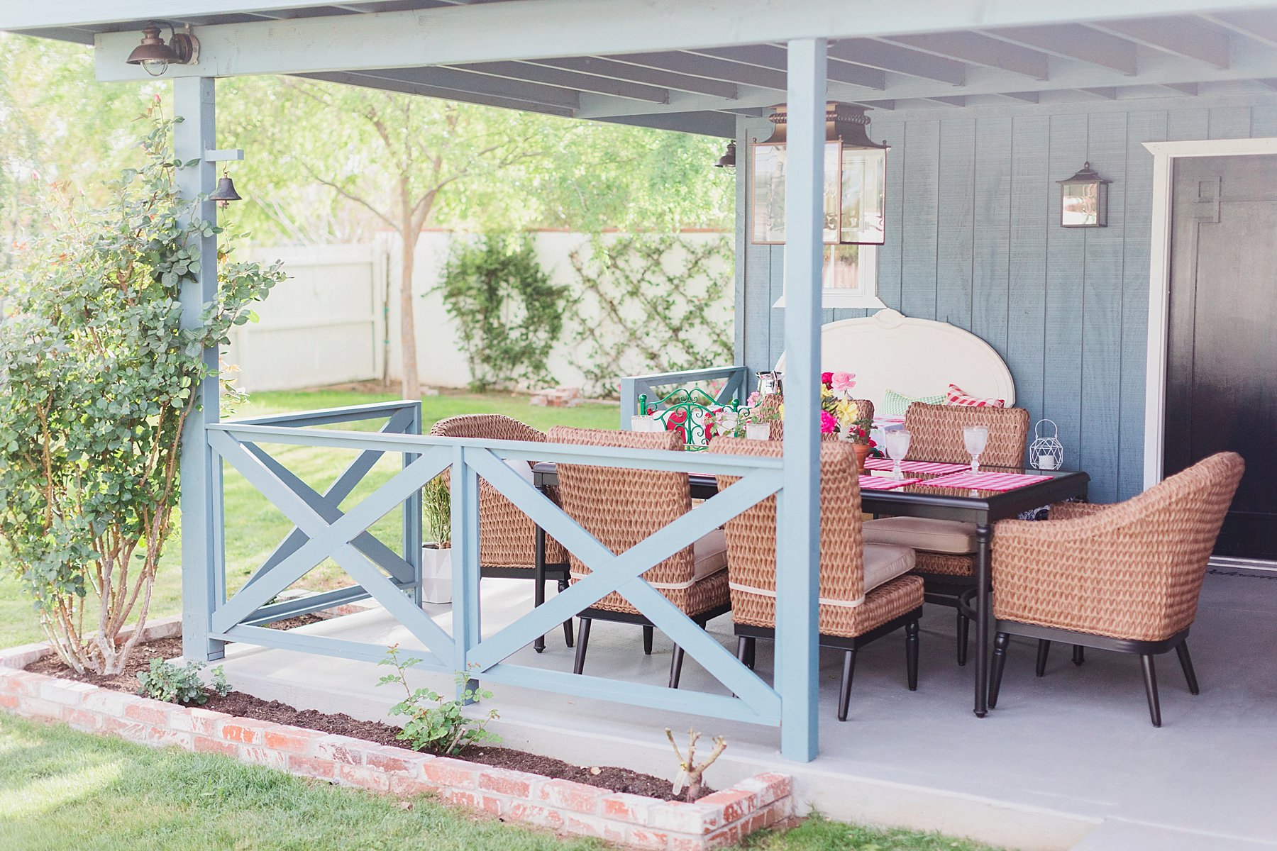 Covered home patio makeover with details