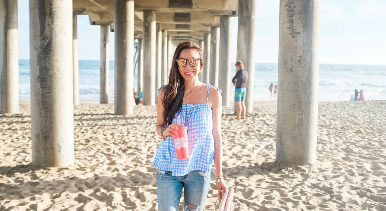 Huntington Beach pier under the boardwalk Lilly pulitzer Silvana top summer time