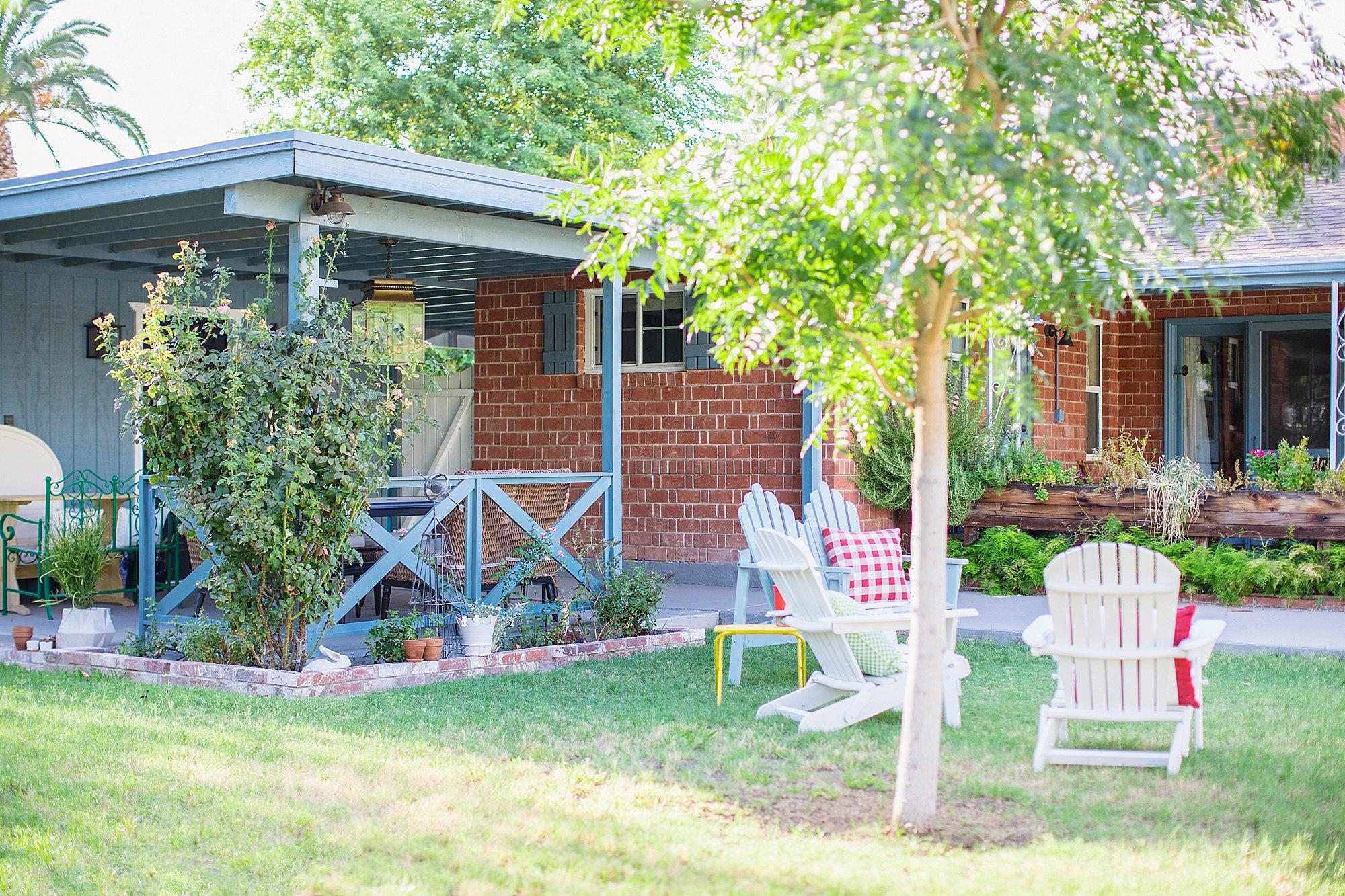garden bench soft light blue from Wayfair backyard entertaining goals seating on the blog