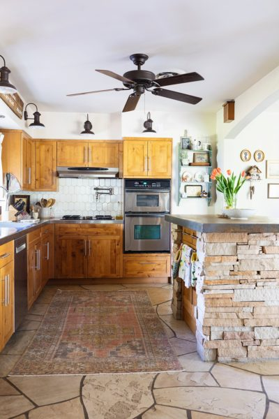 Kitchen style white walker Zanger 6yth avenue cocoon tile in Phoenix lifestyle blogger Diana Elizabeth's home. Cottage rustic style kitchen with flagstone an cement island